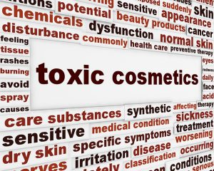 Are You Toxic? Toxic cosmetics warning message background. Artificial ingredients dangerous.