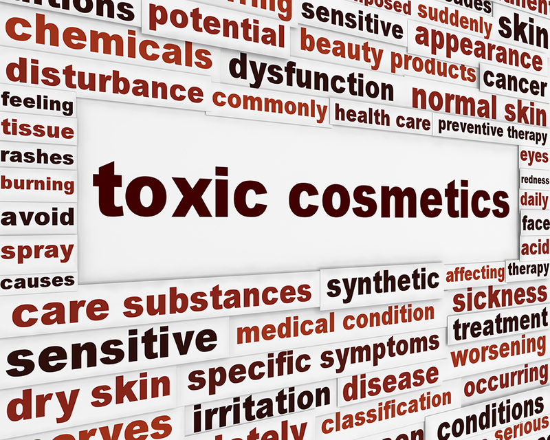 Toxic cosmetics warning message background. Artificial ingredients dangerous poster design
