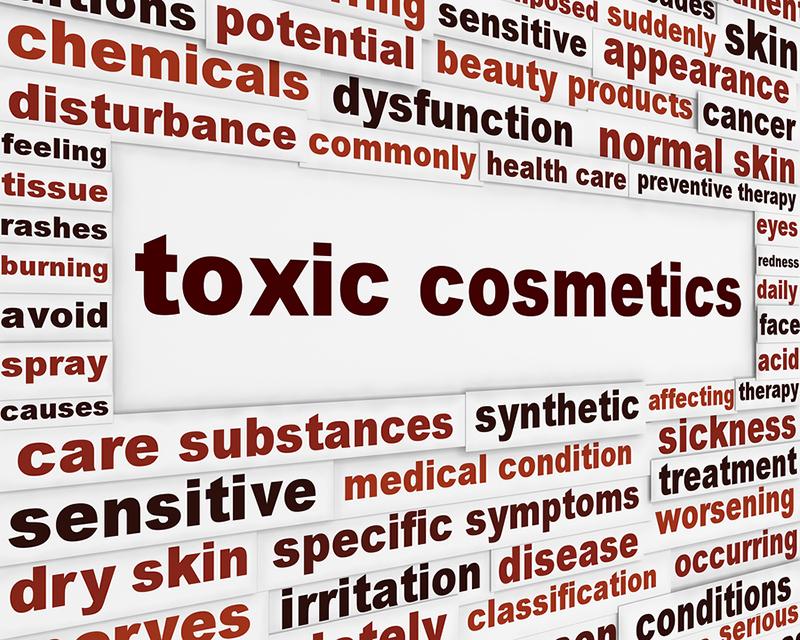 Toxic cosmetics warning message background. Artificial ingredients dangerous poster design